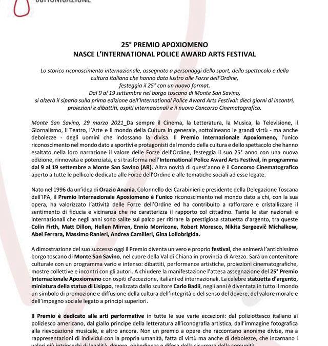 25° PREMIO APOXIOMENO: NASCE L'INTERNATIONAL POLICE AWARD ARTS FESTIVAL